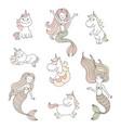 Cute little mermaids and magical unicorns set vector image