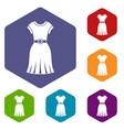 dress icons set hexagon vector image