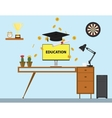 education with cap and paper trophy gold coind and vector image