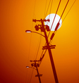Electricity post sunset vector image