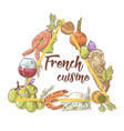 french cuisine hand drawn background with cheese vector image
