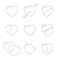 heart line icons symbols vector image