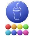 Small buttons and a big button with a glass vector image