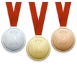 Gold silver and bronze medals set vector image vector image