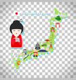 japan travel map on transparent background vector image