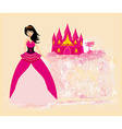 Beautiful young princess in front of her castle vector image
