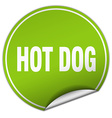 hot dog round green sticker isolated on white vector image