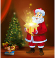 christmas miracle - santa claus holding a box with vector image