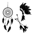 Dream catcher and Indian feather headdress Three vector image