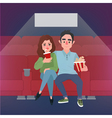 Movie Time Banner Young Couple at the Cinema vector image