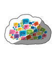 sticker colorful pattern cloud shape formed by vector image