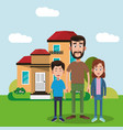 father and brothers standing house vector image