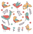 Cute hand drawn colorful birds collection vector image vector image