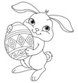 Easter bunny coloring page vector image vector image