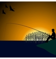 A fisherman on the lake-1 vector image