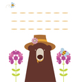 Card with bear anf flowers vector image