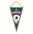 Blue soccer pennant isolated white vector image vector image