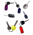big collection of ignition car keys with remote vector image vector image