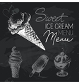 Ice cream hand drawn chalkboard design set vector image vector image
