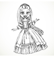 Cute young princess with long hair sketch vector image vector image