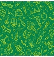 Yellow carnival symbols in doodle style on green vector image vector image