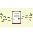 cashflow with clipboard graph chart with money vector image