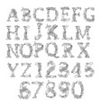 letters and numbers retro palm letters set vector image