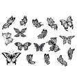 Set of black and white butterflies vector image