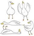 simple funny ducks hand drawn clipart vector image