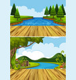 two background scenes with river and trees vector image