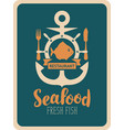 banner for seafood restaurant with anchor and fish vector image vector image