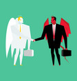 devil and angel business deal satan and god vector image