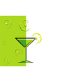 cocktail green card with lemon vector image