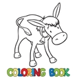 Coloring book of funny donkey vector image