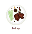 duck legs on plate with sauce celery and anise vector image