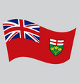 Flag of ontario waving on gray background vector image