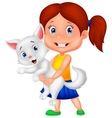 Happy cartoon little girl hugging her pet vector image