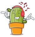 listening music cute cactus character cartoon vector image