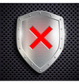metal shield with the sign ban vector image