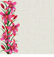 Pale background with red tiger lily flowers leaves vector image