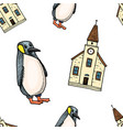 seamless pattern penguin and chapel merry vector image