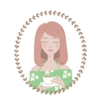 Girl Character Avatar in oval floral frame vector image