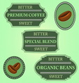 Set of bitter sweet coffee on green badge vector image
