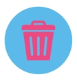 Trash Can flat pink and blue colors round button vector image