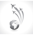 Airplanes flying around a globe vector image