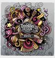 cartoon cute doodles hand drawn music vector image