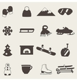 Collection of winter icons activities in flat vector image