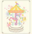 cute colorful merry go round ride vector image