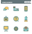 Icons line set premium quality of doing business vector image