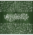 Merry Christmas greeting cardLinear icons vector image